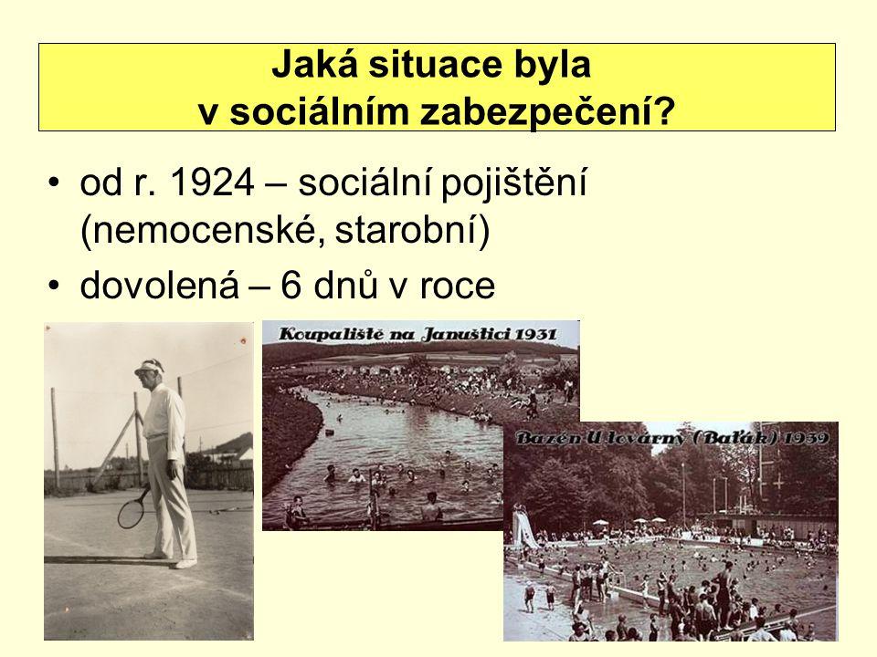 od r. 1924 – sociální pojištění (nemocenské, starobní) dovolená – 6 dnů v roce Jaká situace byla v sociálním zabezpečení?