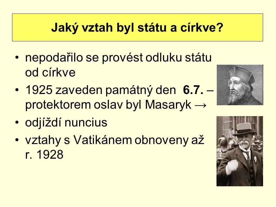 nepodařilo se provést odluku státu od církve 1925 zaveden památný den 6.7. – protektorem oslav byl Masaryk → odjíždí nuncius vztahy s Vatikánem obnove