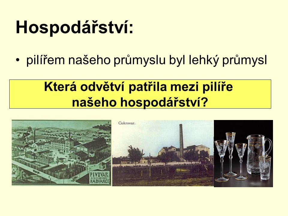 Hospodářství: pilířem našeho průmyslu byl lehký průmysl Která odvětví patřila mezi pilíře našeho hospodářství?