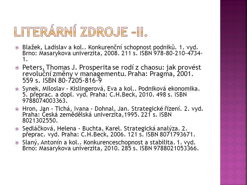  Blažek, Ladislav a kol.. Konkurenční schopnost podniků. 1. vyd. Brno: Masarykova univerzita, 2008. 211 s. ISBN 978-80-210-4734- 1.  Peters, Thomas