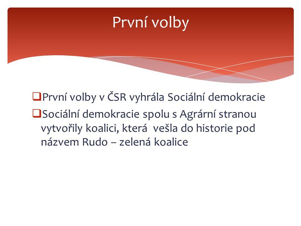  První volby v ČSR vyhrála Sociální demokracie  Sociální demokracie spolu s Agrární stranou vytvořily koalici, která vešla do historie pod názvem Rudo – zelená koalice První volby