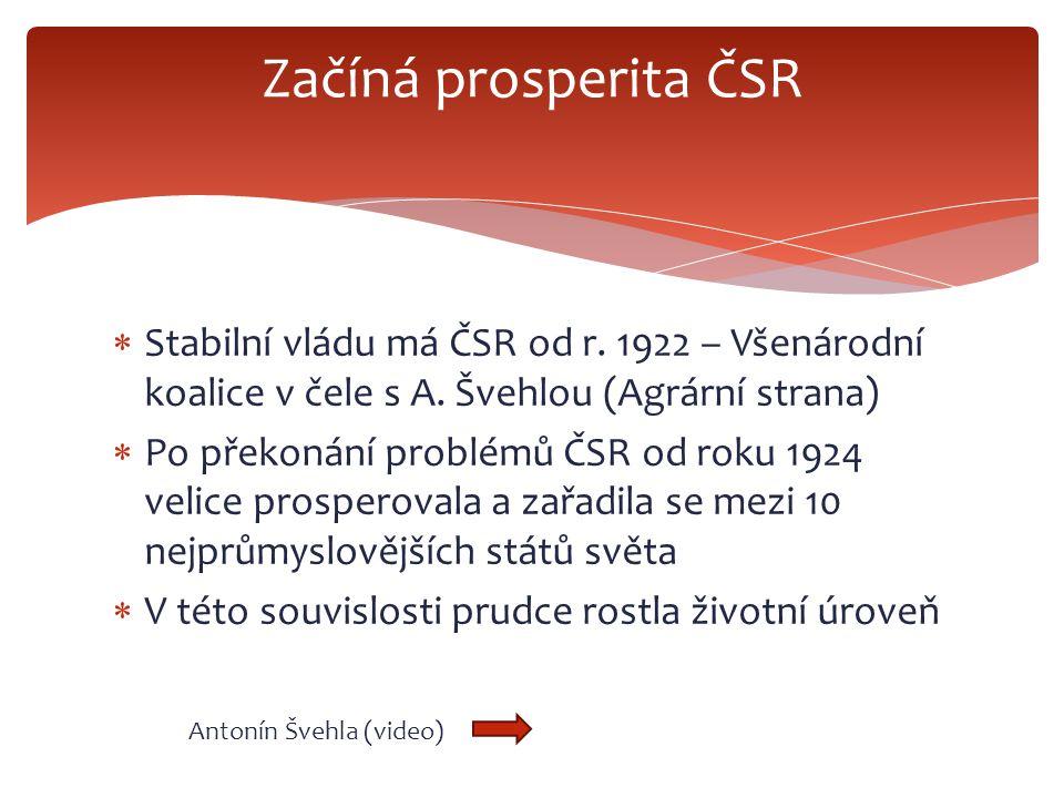  Stabilní vládu má ČSR od r. 1922 – Všenárodní koalice v čele s A. Švehlou (Agrární strana)  Po překonání problémů ČSR od roku 1924 velice prosperov