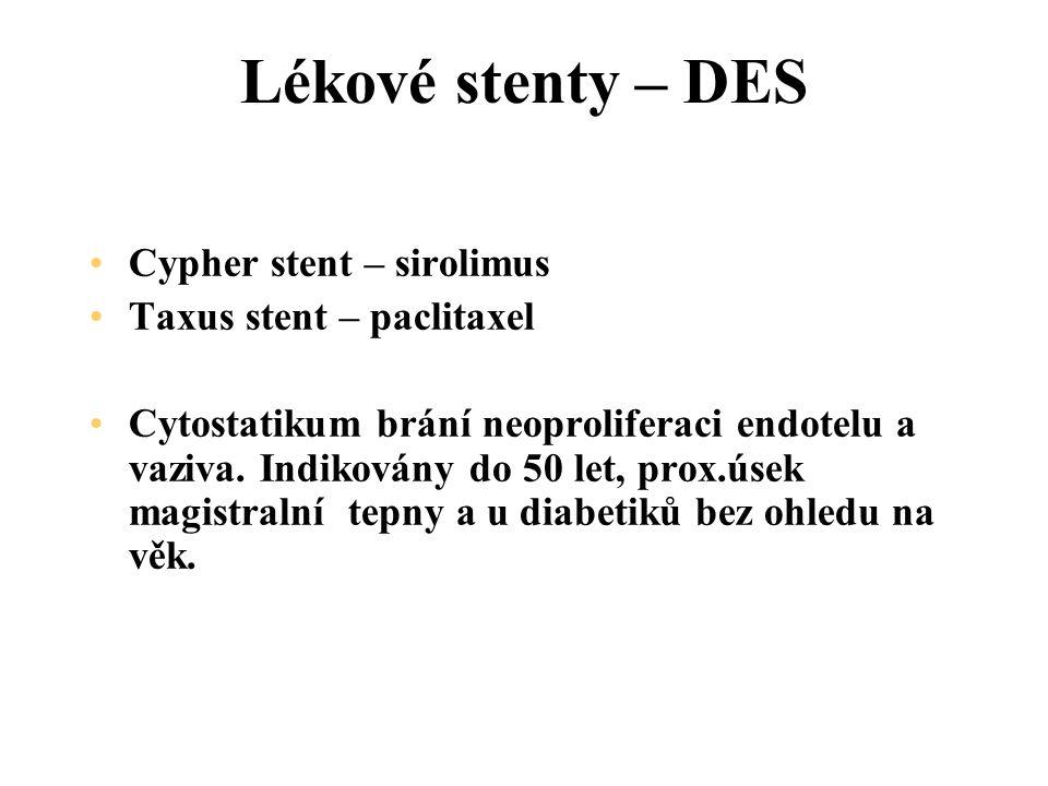 Lékové stenty – DES Cypher stent – sirolimus Taxus stent – paclitaxel Cytostatikum brání neoproliferaci endotelu a vaziva.
