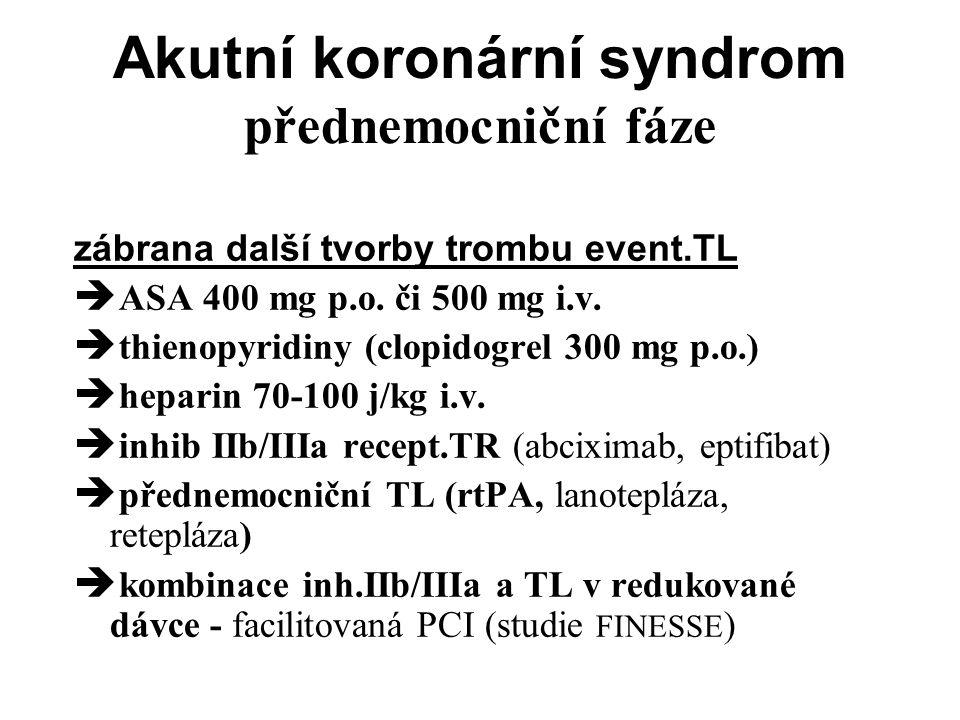Akutní koronární syndrom přednemocniční fáze zábrana další tvorby trombu event.TL  ASA 400 mg p.o.