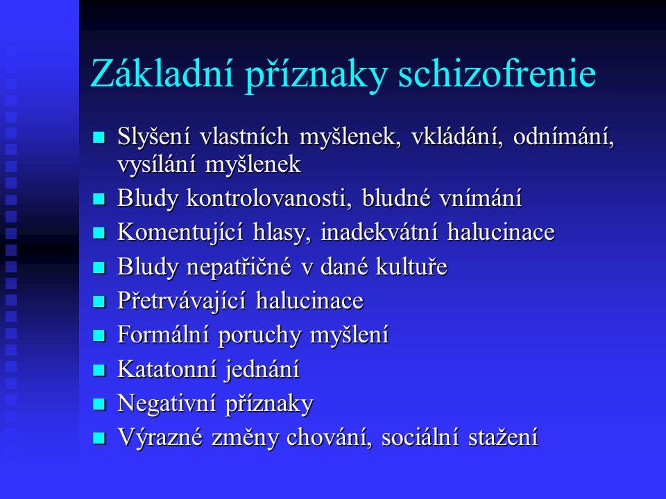Maligní neuroleptický syndrom Hypertermie Hypertermie Extrapyramidové příznaky Extrapyramidové příznaky Pocení, tachykardie, kolísání TK, delirium, koma Pocení, tachykardie, kolísání TK, delirium, koma Vysoké hodnoty kreatinfosfokinázy, myoglobinurie Vysoké hodnoty kreatinfosfokinázy, myoglobinurie Léčba: dantrolen, diazepam, EKT Léčba: dantrolen, diazepam, EKT