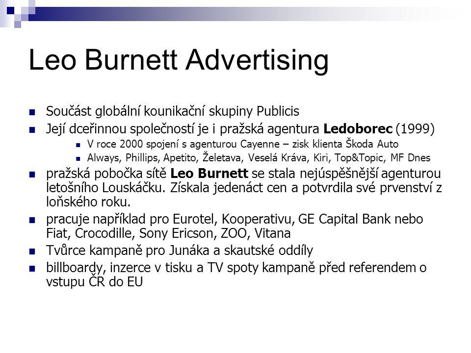 Leo Burnett Advertising Součást globální kounikační skupiny Publicis Její dceřinnou společností je i pražská agentura Ledoborec (1999) V roce 2000 spojení s agenturou Cayenne – zisk klienta Škoda Auto Always, Phillips, Apetito, Želetava, Veselá Kráva, Kiri, Top&Topic, MF Dnes pražská pobočka sítě Leo Burnett se stala nejúspěšnější agenturou letošního Louskáčku.