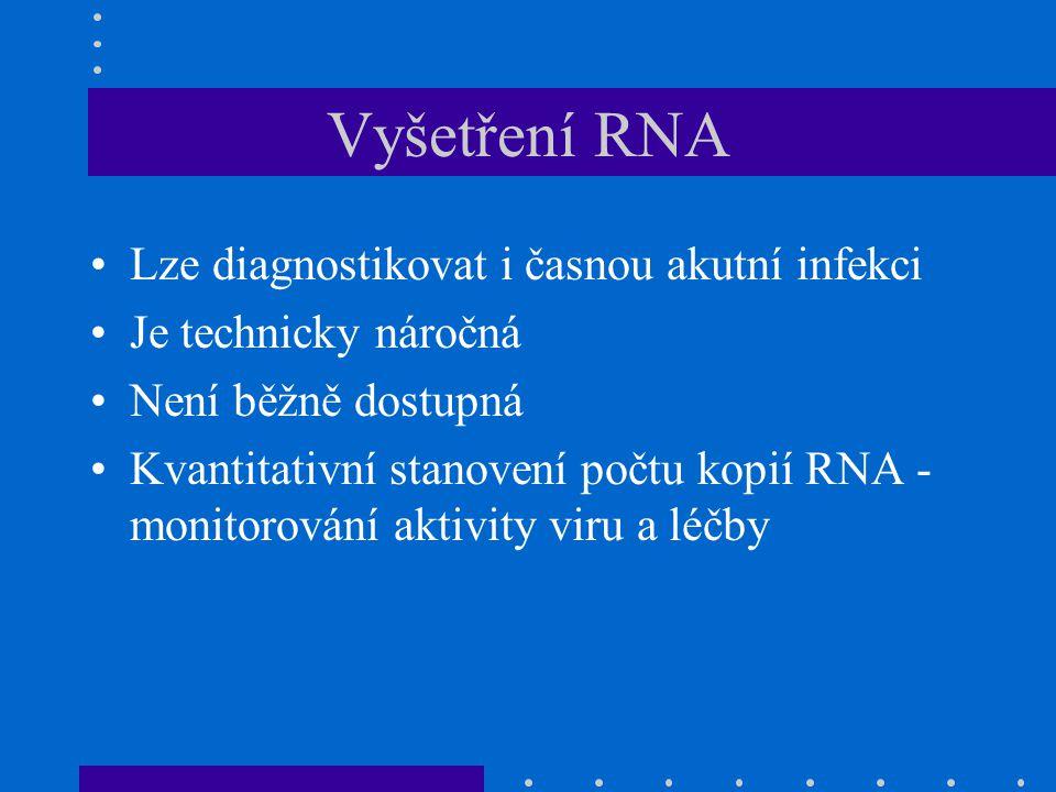 Vyšetření RNA Lze diagnostikovat i časnou akutní infekci Je technicky náročná Není běžně dostupná Kvantitativní stanovení počtu kopií RNA - monitorování aktivity viru a léčby