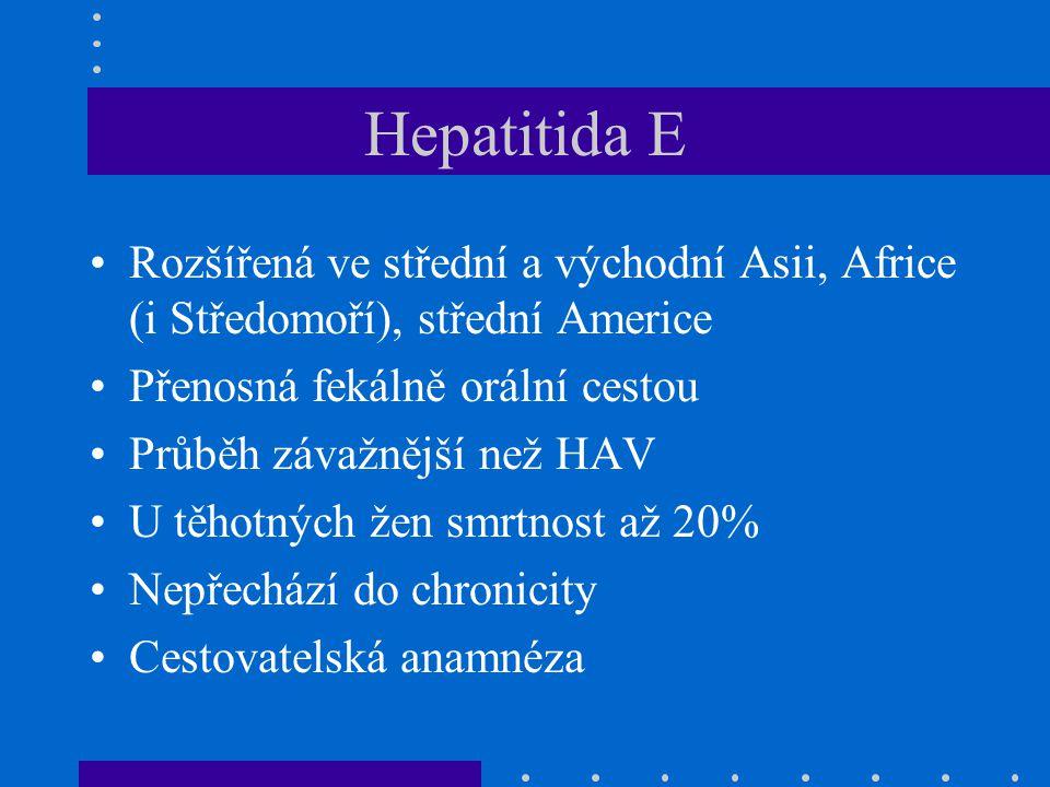 Hepatitida E Rozšířená ve střední a východní Asii, Africe (i Středomoří), střední Americe Přenosná fekálně orální cestou Průběh závažnější než HAV U těhotných žen smrtnost až 20% Nepřechází do chronicity Cestovatelská anamnéza
