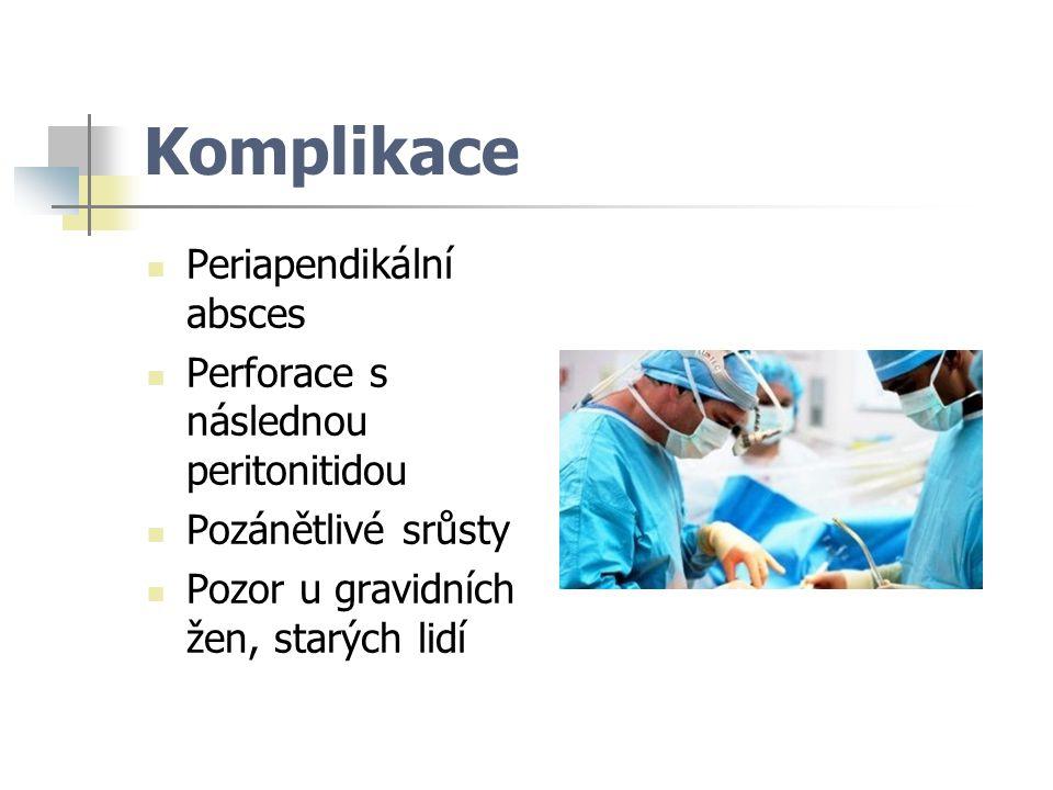 Komplikace Periapendikální absces Perforace s následnou peritonitidou Pozánětlivé srůsty Pozor u gravidních žen, starých lidí