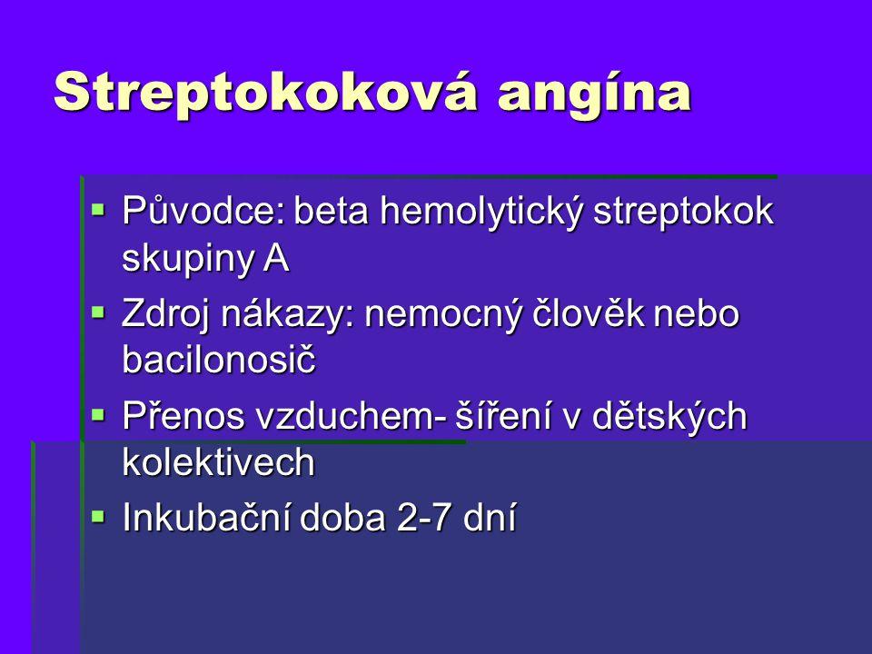 Streptokoková angína  Původce: beta hemolytický streptokok skupiny A  Zdroj nákazy: nemocný člověk nebo bacilonosič  Přenos vzduchem- šíření v děts