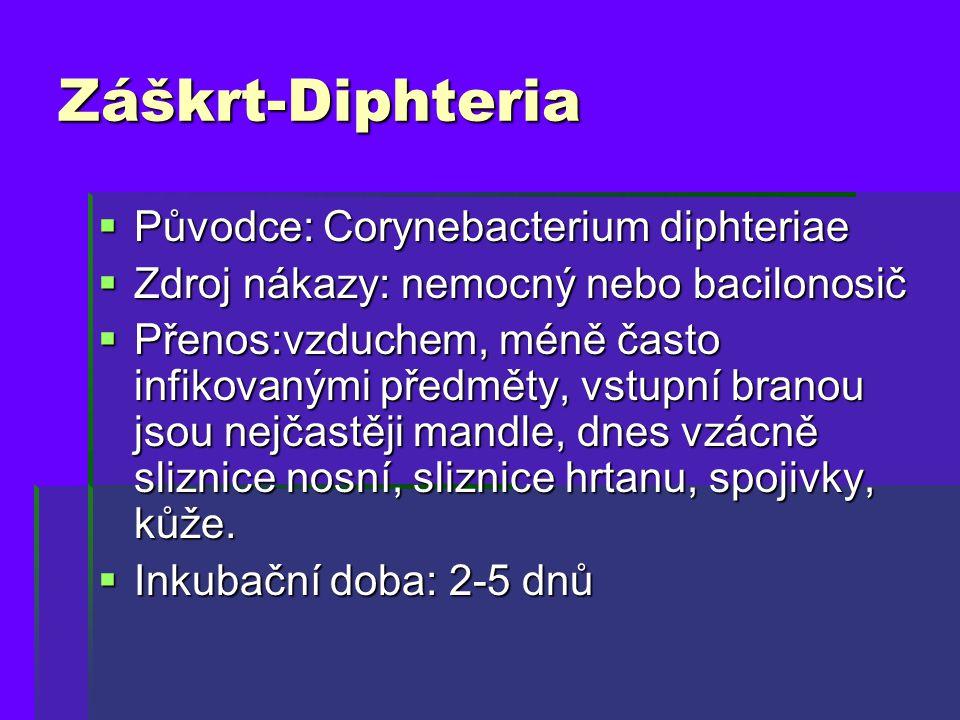 Záškrt-Diphteria  Původce: Corynebacterium diphteriae  Zdroj nákazy: nemocný nebo bacilonosič  Přenos:vzduchem, méně často infikovanými předměty, v