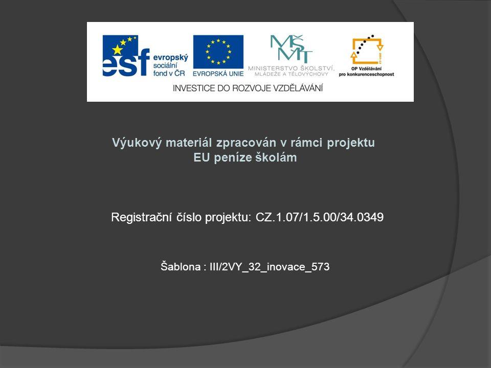 Výukový materiál zpracován v rámci projektu EU peníze školám Šablona : III/2VY_32_inovace_573 Registrační číslo projektu: CZ.1.07/1.5.00/34.0349