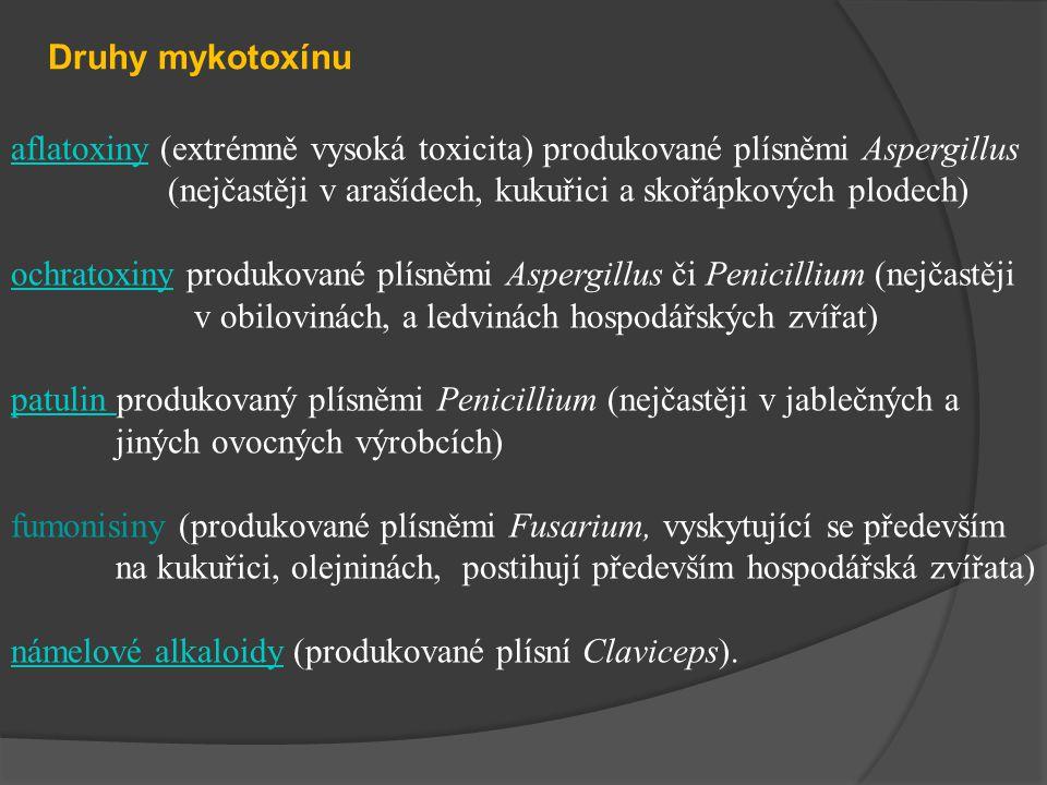 aflatoxinyaflatoxiny (extrémně vysoká toxicita) produkované plísněmi Aspergillus (nejčastěji v arašídech, kukuřici a skořápkových plodech) ochratoxinyochratoxiny produkované plísněmi Aspergillus či Penicillium (nejčastěji v obilovinách, a ledvinách hospodářských zvířat) patulin patulin produkovaný plísněmi Penicillium (nejčastěji v jablečných a jiných ovocných výrobcích) fumonisiny (produkované plísněmi Fusarium, vyskytující se především na kukuřici, olejninách, postihují především hospodářská zvířata) námelové alkaloidynámelové alkaloidy (produkované plísní Claviceps).