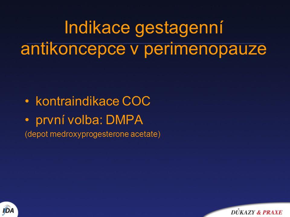 Indikace gestagenní antikoncepce v perimenopauze kontraindikace COC první volba: DMPA (depot medroxyprogesterone acetate)