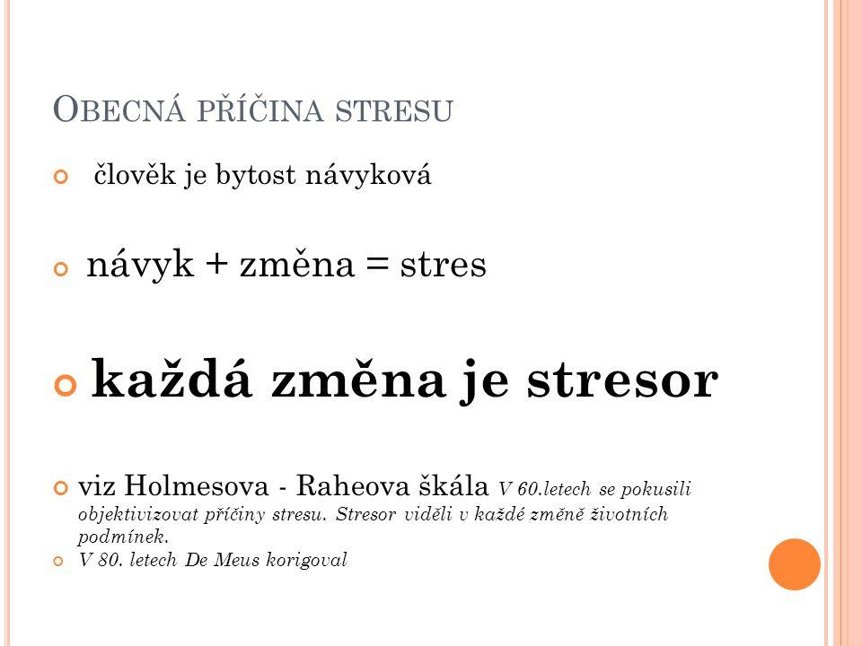 O BECNÁ PŘÍČINA STRESU člověk je bytost návyková návyk + změna = stres každá změna je stresor viz Holmesova - Raheova škála V 60.letech se pokusili objektivizovat příčiny stresu.