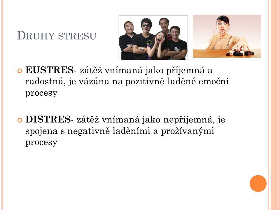 D RUHY STRESU EUSTRES - zátěž vnímaná jako příjemná a radostná, je vázána na pozitivně laděné emoční procesy DISTRES - zátěž vnímaná jako nepříjemná,