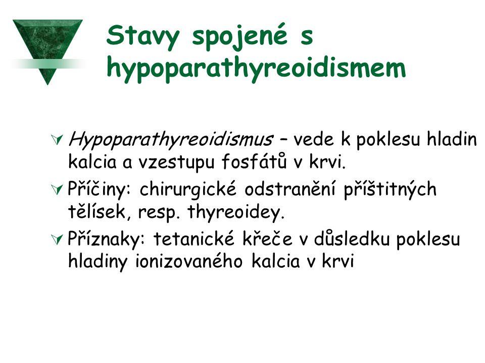 Stavy spojené s hypoparathyreoidismem  Hypoparathyreoidismus – vede k poklesu hladin kalcia a vzestupu fosfátů v krvi.