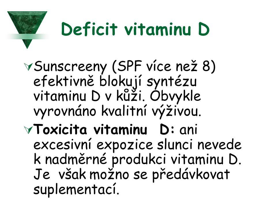 Deficit vitaminu D  Sunscreeny (SPF více než 8) efektivně blokují syntézu vitaminu D v kůži.