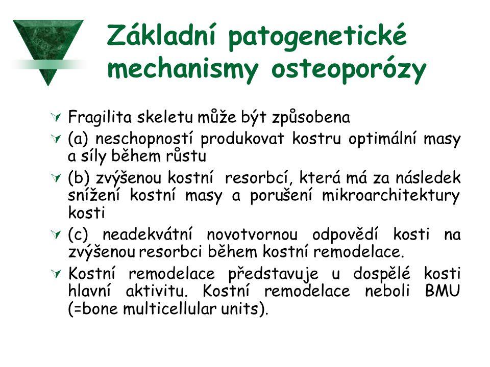 Základní patogenetické mechanismy osteoporózy  Fragilita skeletu může být způsobena  (a) neschopností produkovat kostru optimální masy a síly během růstu  (b) zvýšenou kostní resorbcí, která má za následek snížení kostní masy a porušení mikroarchitektury kosti  (c) neadekvátní novotvornou odpovědí kosti na zvýšenou resorbci během kostní remodelace.