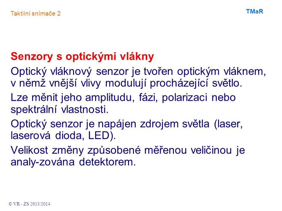 Senzory s optickými vlákny Optický vláknový senzor je tvořen optickým vláknem, v němž vnější vlivy modulují procházející světlo. Lze měnit jeho amplit