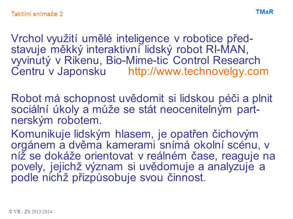 Vrchol využití umělé inteligence v robotice před- stavuje měkký interaktivní lidský robot RI-MAN, vyvinutý v Rikenu, Bio-Mime-tic Control Research Centru v Japonsku http://www.technovelgy.com Robot má schopnost uvědomit si lidskou péči a plnit sociální úkoly a může se stát neocenitelným part- nerským robotem.