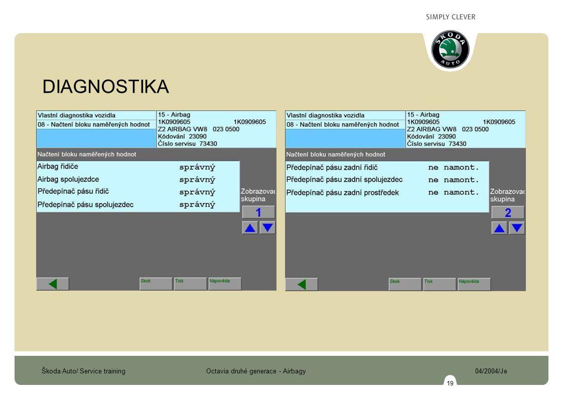 Škoda Auto/ Service training Octavia druhé generace - Airbagy 04/2004/Je 19 DIAGNOSTIKA