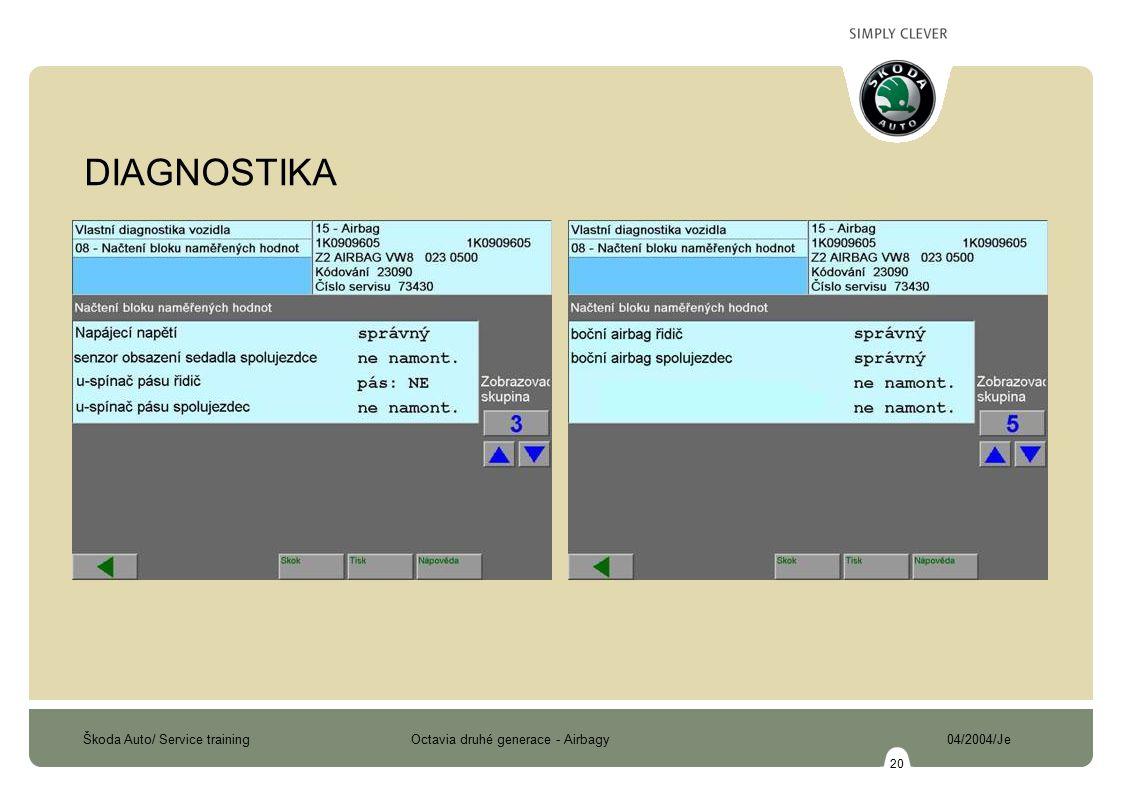 Škoda Auto/ Service training Octavia druhé generace - Airbagy 04/2004/Je 20 DIAGNOSTIKA