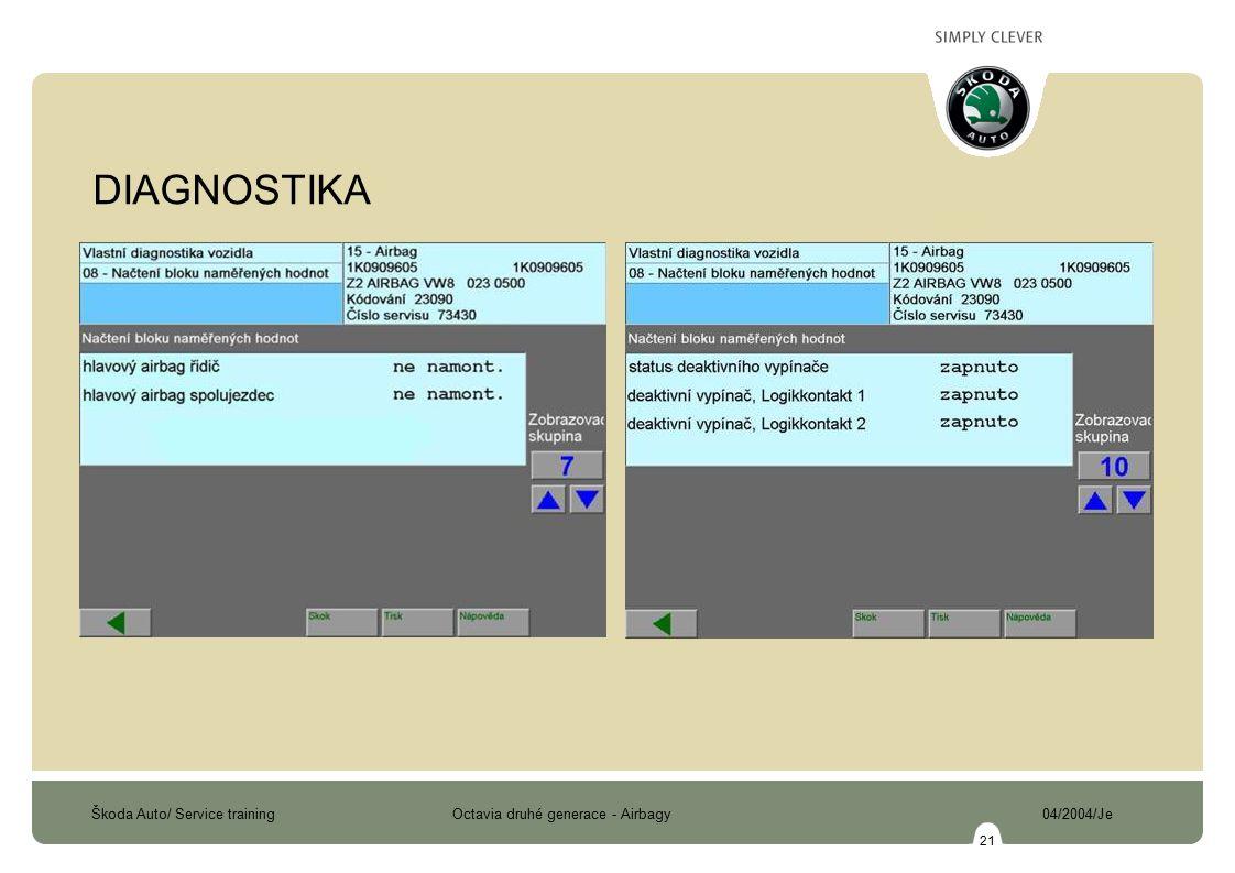Škoda Auto/ Service training Octavia druhé generace - Airbagy 04/2004/Je 21 DIAGNOSTIKA