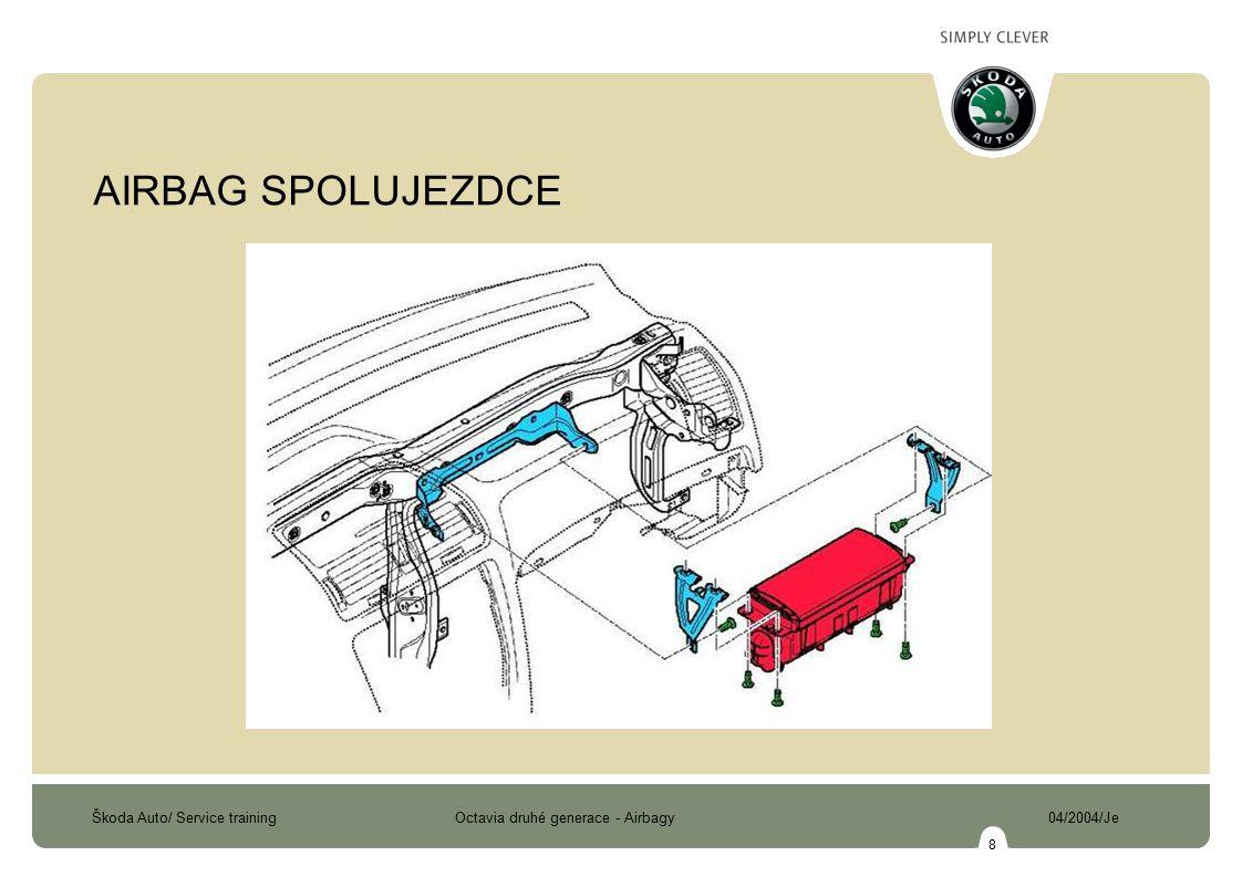 Škoda Auto/ Service training Octavia druhé generace - Airbagy 04/2004/Je 9 AIRBAG SPOLUJEZDCE