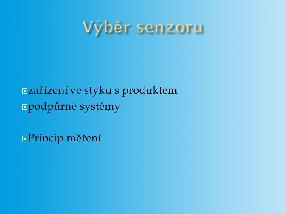  zařízení ve styku s produktem  podpůrné systémy  Princip měření