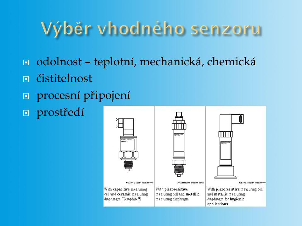 odolnost – teplotní, mechanická, chemická  čistitelnost  procesní připojení  prostředí