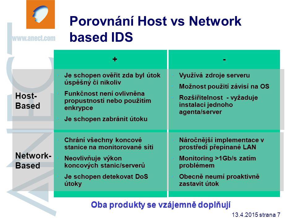 13.4.2015 strana 7 - - Network- Based Host- Based + + Je schopen ověřit zda byl útok úspěšný či nikoliv Funkčnost není ovlivněna propustností nebo pou