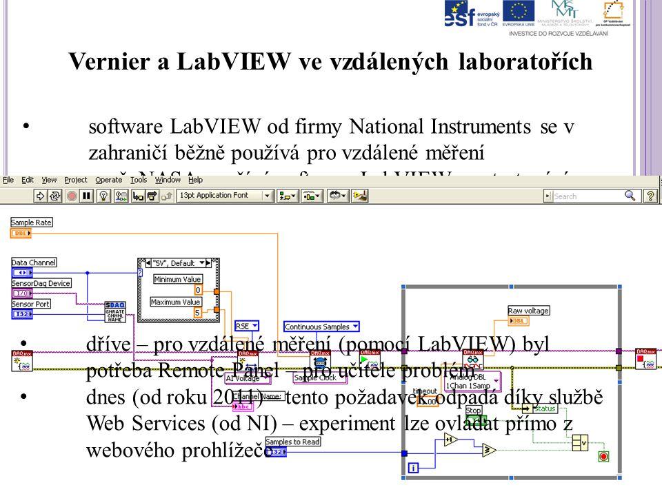 Vernier a LabVIEW ve vzdálených laboratořích software LabVIEW od firmy National Instruments se v zahraničí běžně používá pro vzdálené měření např. NAS