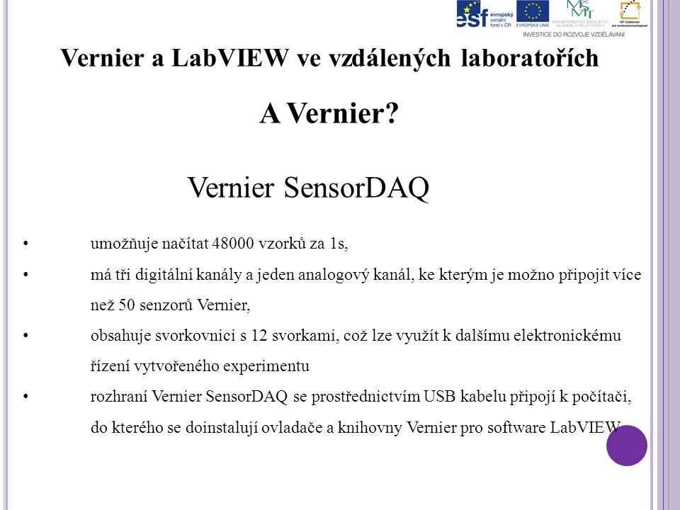 Vernier a LabVIEW ve vzdálených laboratořích A Vernier? Vernier SensorDAQ umožňuje načítat 48000 vzorků za 1s, má tři digitální kanály a jeden analogo