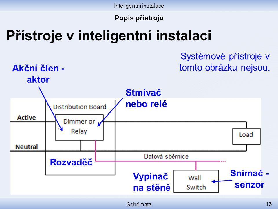 Inteligentní instalace Schémata 13 Přístroje v inteligentní instalaci Rozvaděč Vypínač na stěně Stmívač nebo relé Akční člen - aktor Snímač - senzor S
