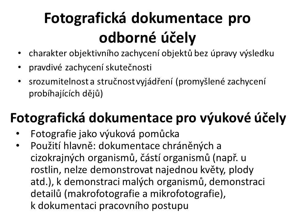 Fotografická dokumentace pro odborné účely charakter objektivního zachycení objektů bez úpravy výsledku pravdivé zachycení skutečnosti srozumitelnost