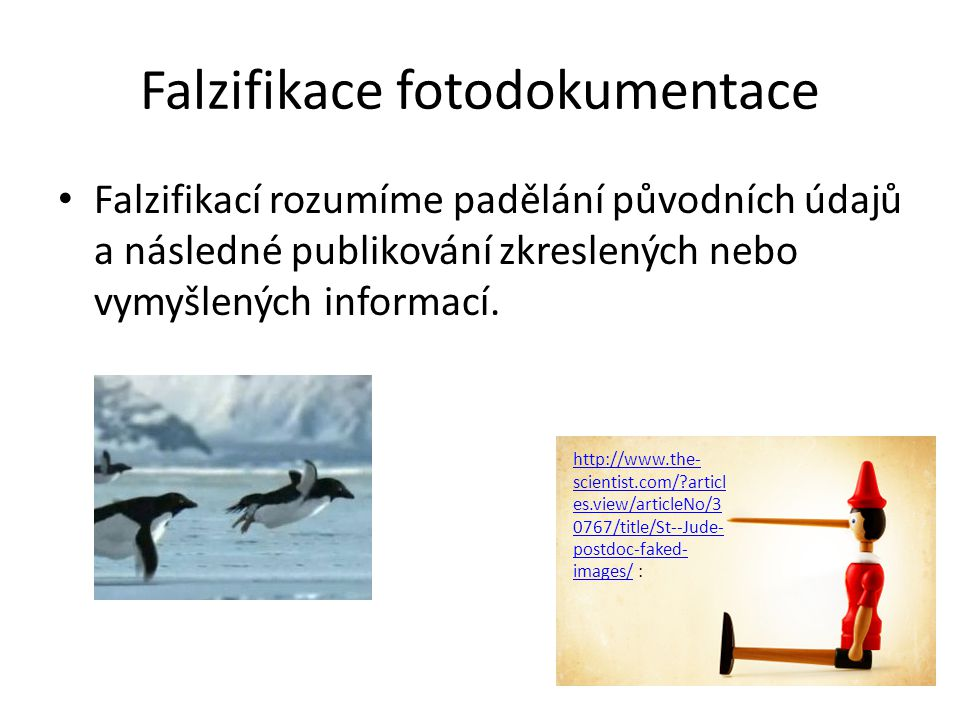 Falzifikace fotodokumentace Falzifikací rozumíme padělání původních údajů a následné publikování zkreslených nebo vymyšlených informací. http://www.th