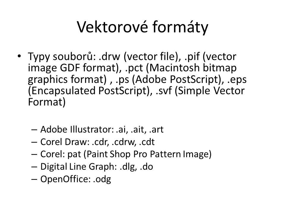 Vektorové formáty Typy souborů:.drw (vector file),.pif (vector image GDF format),.pct (Macintosh bitmap graphics format),.ps (Adobe PostScript),.eps (