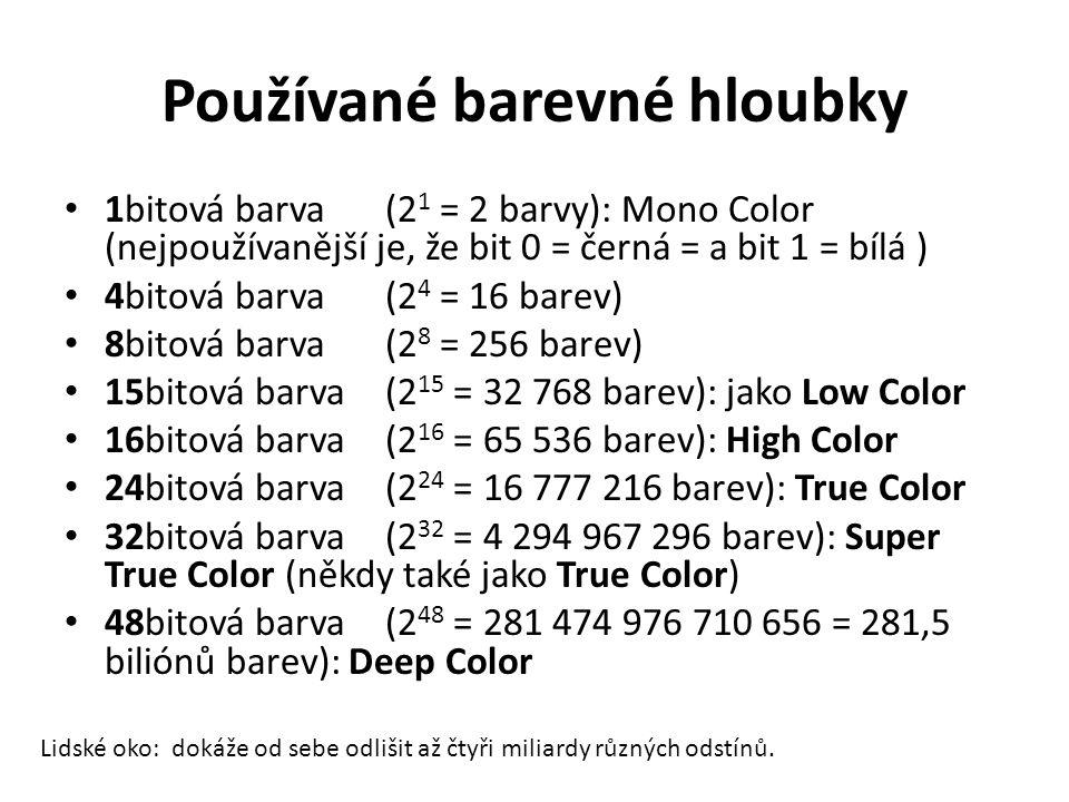 Používané barevné hloubky 1bitová barva (2 1 = 2 barvy): Mono Color (nejpoužívanější je, že bit 0 = černá = a bit 1 = bílá ) 4bitová barva (2 4 = 16 b