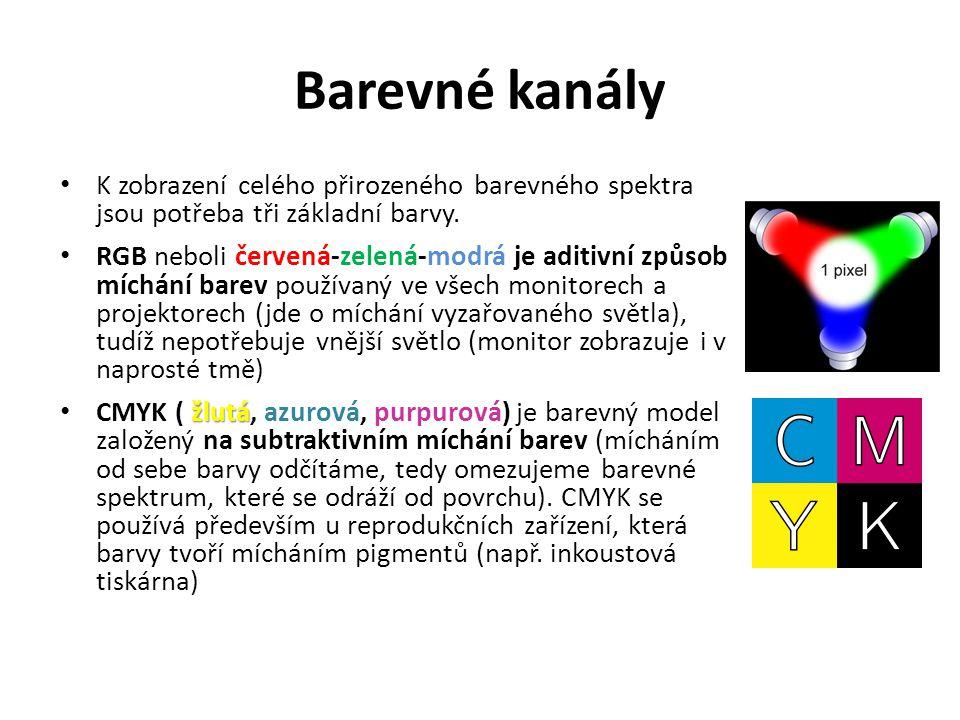 Barevné kanály K zobrazení celého přirozeného barevného spektra jsou potřeba tři základní barvy. RGB neboli červená-zelená-modrá je aditivní způsob mí