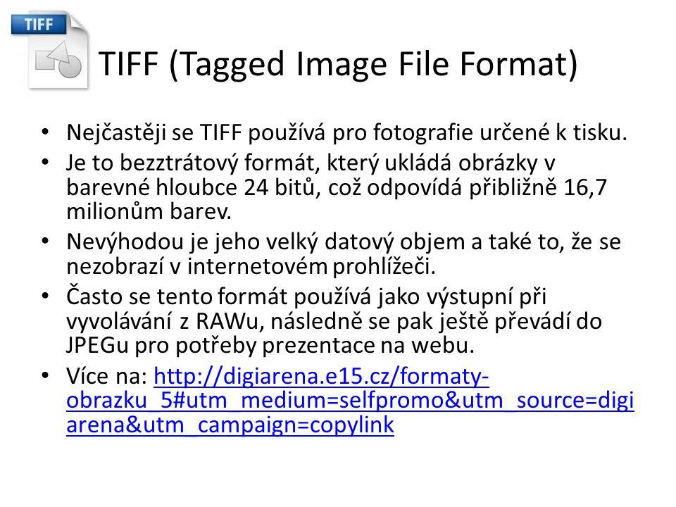 TIFF (Tagged Image File Format) Nejčastěji se TIFF používá pro fotografie určené k tisku. Je to bezztrátový formát, který ukládá obrázky v barevné hlo