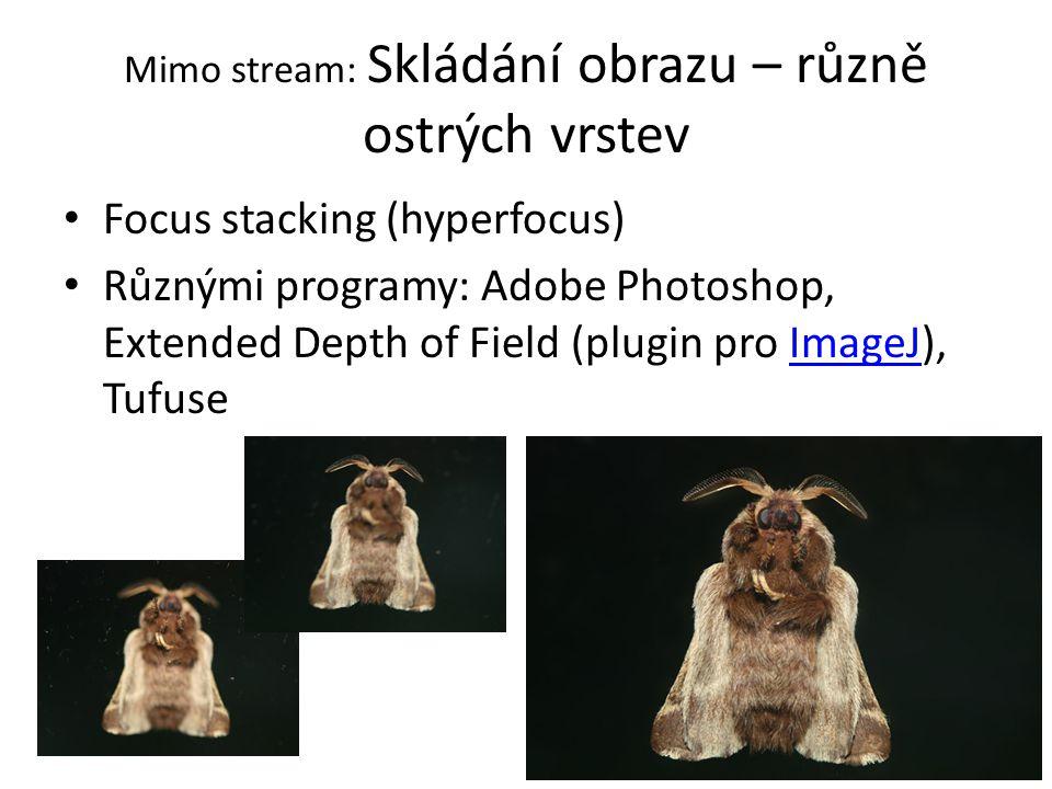 Mimo stream: Skládání obrazu – různě ostrých vrstev Focus stacking (hyperfocus) Různými programy: Adobe Photoshop, Extended Depth of Field (plugin pro