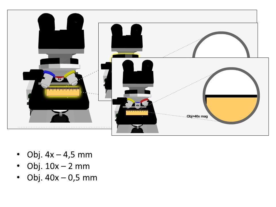 Obj. 4x – 4,5 mm Obj. 10x – 2 mm Obj. 40x – 0,5 mm