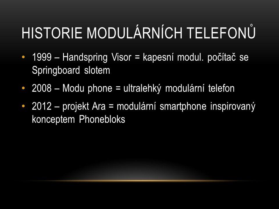 HISTORIE MODULÁRNÍCH TELEFONŮ 1999 – Handspring Visor = kapesní modul.
