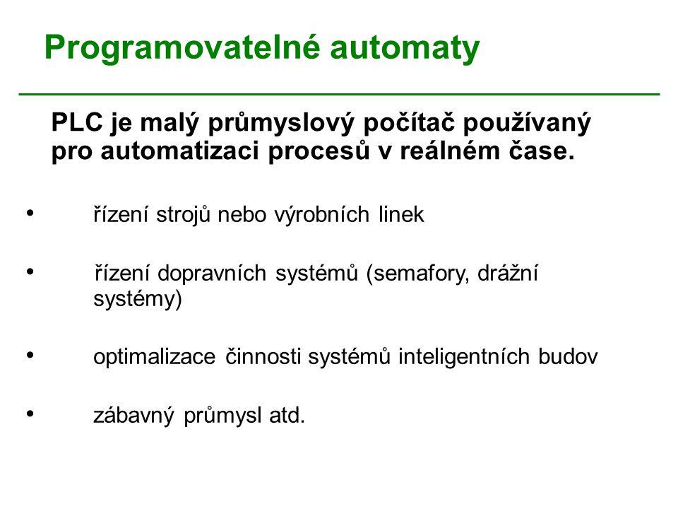Programovatelné automaty PLC je malý průmyslový počítač používaný pro automatizaci procesů v reálném čase. řízení strojů nebo výrobních linek řízení d