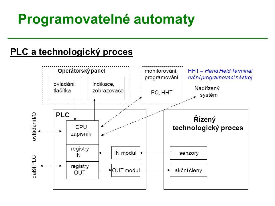 Programovatelné automaty Operátorský panel ovládání, tlačítka indikace, zobrazovače monitorování, programování CPU zápisník registry IN registry OUT I