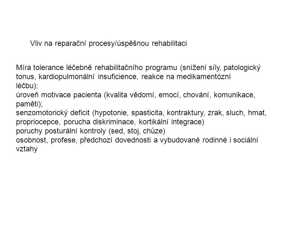 Míra tolerance léčebně rehabilitačního programu (snížení síly, patologický tonus, kardiopulmonální insuficience, reakce na medikamentózní léčbu); úroveň motivace pacienta (kvalita vědomí, emocí, chování, komunikace, paměti); senzomotorický deficit (hypotonie, spasticita, kontraktury, zrak, sluch, hmat, propriocepce, porucha diskriminace, kortikální integrace) poruchy posturální kontroly (sed, stoj, chůze) osobnost, profese, předchozí dovednosti a vybudované rodinné i sociální vztahy Vliv na reparační procesy/úspěšnou rehabilitaci
