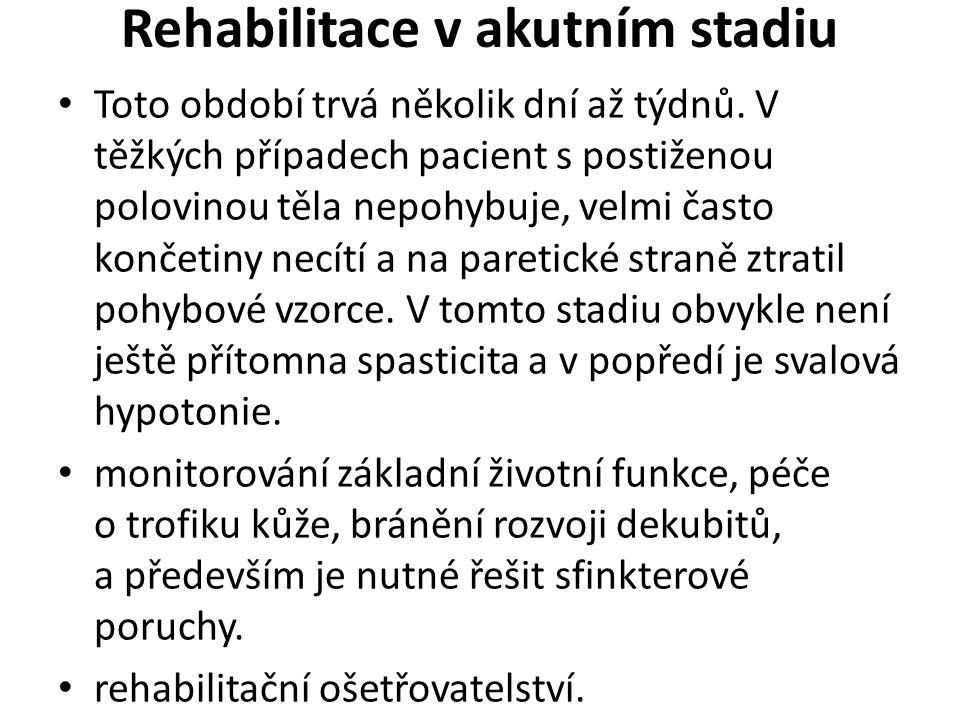 Rehabilitace v akutním stadiu Toto období trvá několik dní až týdnů.