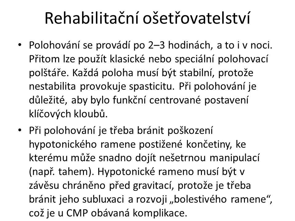 Rehabilitační ošetřovatelství Polohování se provádí po 2–3 hodinách, a to i v noci.