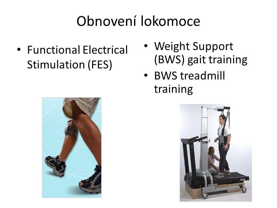 Obnovení lokomoce Weight Support (BWS) gait training BWS treadmill training Functional Electrical Stimulation (FES)